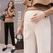 663# 9/10 Autumn Winter Thick Woolen Maternity Pants Elastic Waist Belly Straight Casual Clothes for Pregnant Women OL Pregnancy