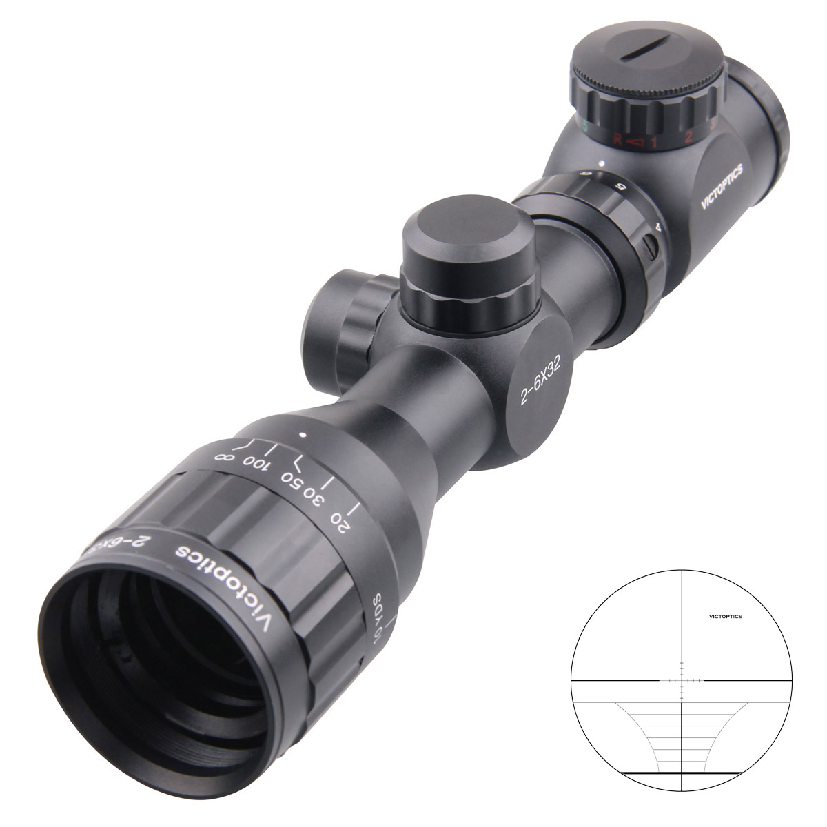 Victoptics 2-6x32 AOE Tactical Scope 25.4mm Monotube Range Finder Reticle 1/4