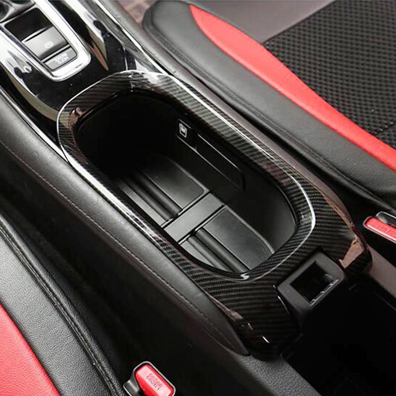For Honda HR-V HRV Vezel 2014-2016 ABS Carbon Fibre Car Cup Holder Interior Protective Cover Trim Car Styling Accessories 1pcs