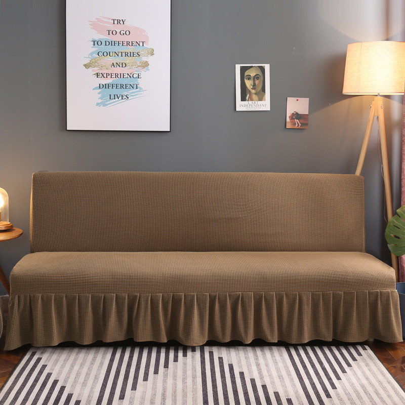 Sofa Cover with Skirt Without Armrest Stretch Universal Couch Cover Furniture Slipcover for Living Room Two/Three/Four-seater