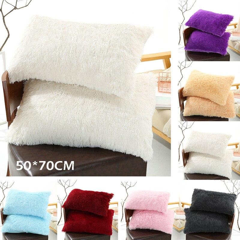 2 Pcs Solid Color Plush Pillowcases Faux Fur Shaggy Soft Decorative Pillow Cover Bedroom Living Room Home Decor 50*70cm