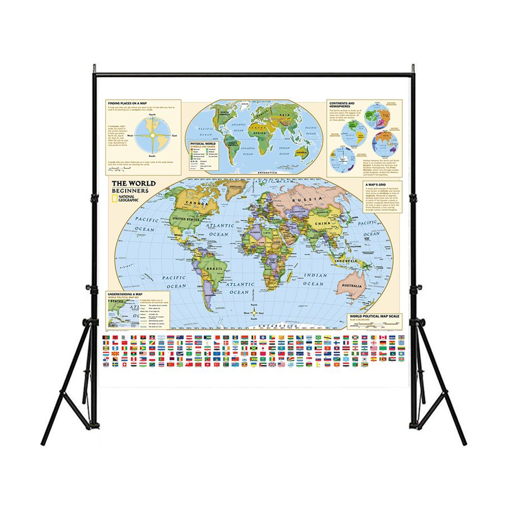 150x150cm Non-woven World Map Suitable For Beginners With Flags And World Political Map Scale