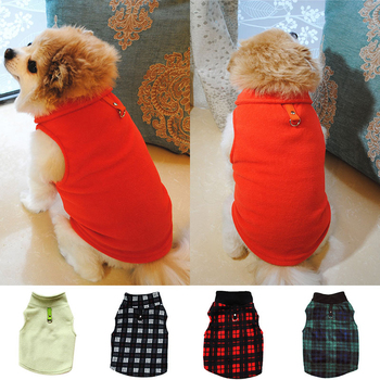Cute Solid Color Plaid Fleece Cat Vest Dog Clothes For Small Medium Dogs Autumn Winter Warm Thicken Dog Jacket Clothing Coats image