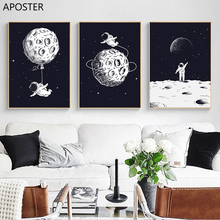 Canvas Painting Nordic Decoration Space Astronaut Explore Moon Poster Nursery Wall Art Picture and Print for Baby Bedroom Decor