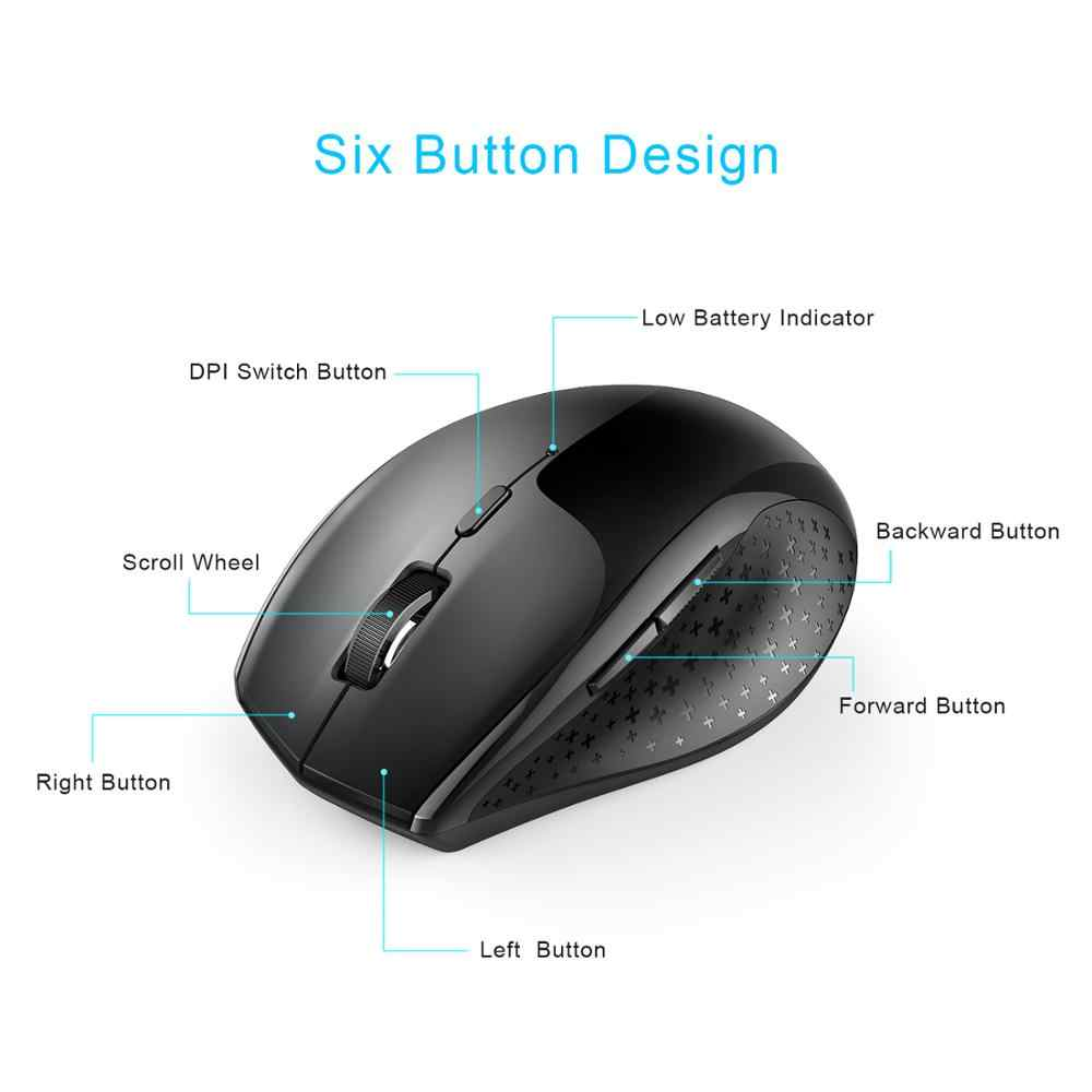 TeckNet 2.4GHz 2400DPI マウスブラック光学式ワイヤレスマウス USB ナノレシーバー PC コンピュータワイヤレスマウス、ラップ