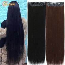 Meifan100cm cabelo falso, longo, reto, natural, peças 5 grampos, para extensão de cabelo, resistente ao calor, sintético, preto, marrom