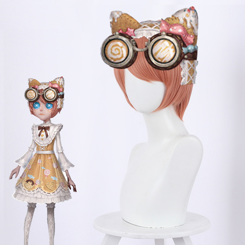Identity V Mechanic Tracy Reznik Cosplay Wigs Candy Girls Orange Pink Short Synthetic Hair Wig For Halloween Party Role Play