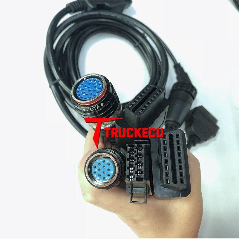 Câble 5 pièces pour volvo vocom 88890300 pour volvo/UD/MACK/RENAULT camion pelle diagnostic OBD II câble + 8 broches + USB + 12 broches + 14 broches