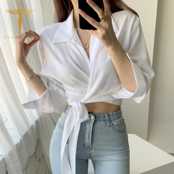 Women Elegant Flare Long Sleeve White Blouse Korean Cross Lace-up Crop Top Shirt Retro Thin High Waist Female Shirt Slim Blouse lace ruffle short crop top long sleeve hollow out black slim sexy backless korean spring white pink cardigan shirt women blouse