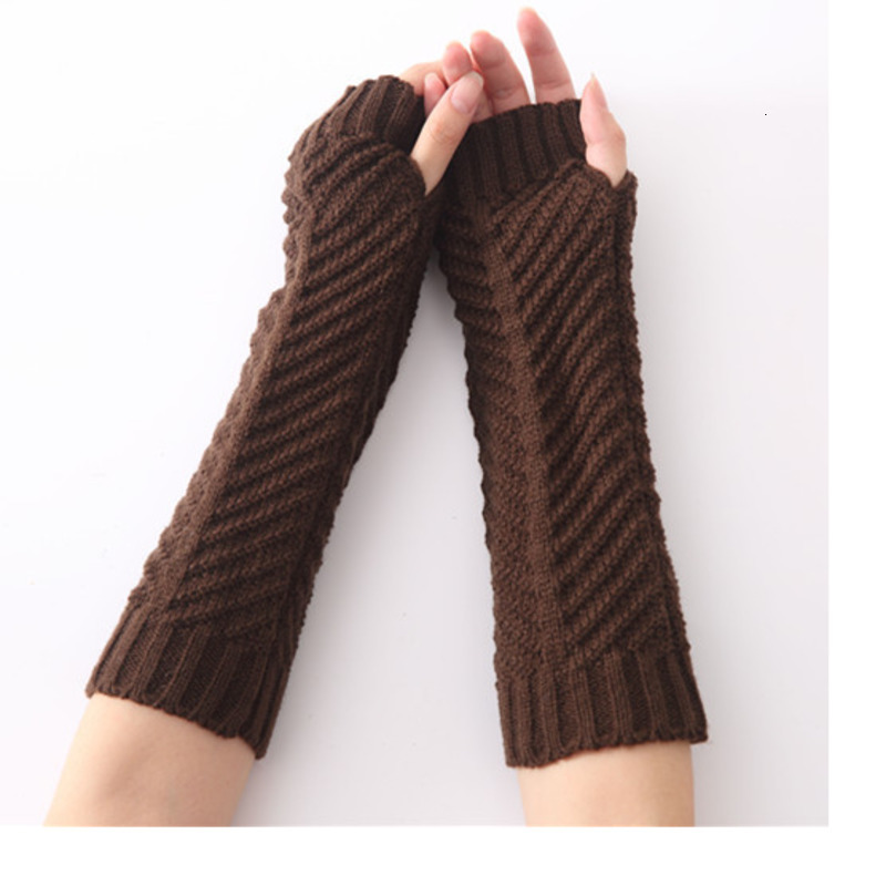 2019 New Winter Women's Warm Ladies Girl Solid Color Fish Bones Gloves Arm Warmer Long Fingerless Stripe Knitting Mittens