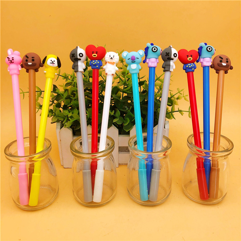 1 Pcs Korean Stationery Cute Pen Kpop Theme Cosplay Prop Cartoon 8 Color Ballpoint Pen / Gel Pen Kawaii School Writing Gifts