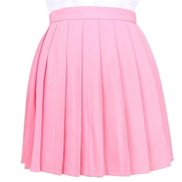 Women's Skirts Ladies Kawaii Pleated Cos Macarons Solid Color High Waist Skirt Female Korean Harajuku Clothing For Women Casual 2