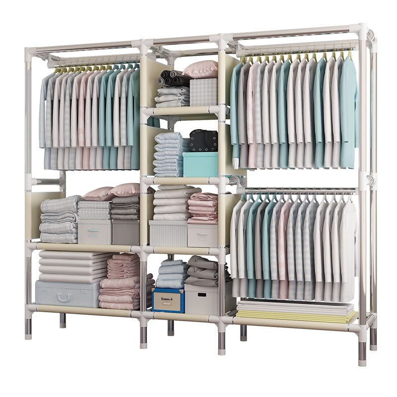 Cloth font b Closet b font Steel Pipe Thickening Clothes Cabinet Folding Fabric Assembly Steel Frame