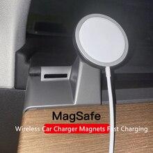 Беспроводное зарядное устройство MagSafe для Apple 12 iPhone Tesla, Автомобильный кронштейн, Стайлинг, подставка, GPS-дисплей, кронштейн для Tesla Model3