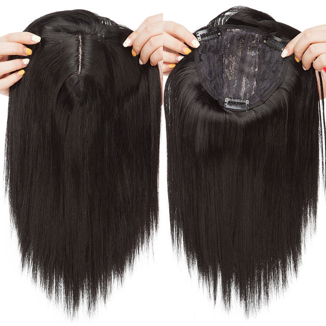 S-noilite 10inch 4*2 toupee hair extension Synthetic clip in topper hair with bangs straight top hair hairpiece for women beard 3