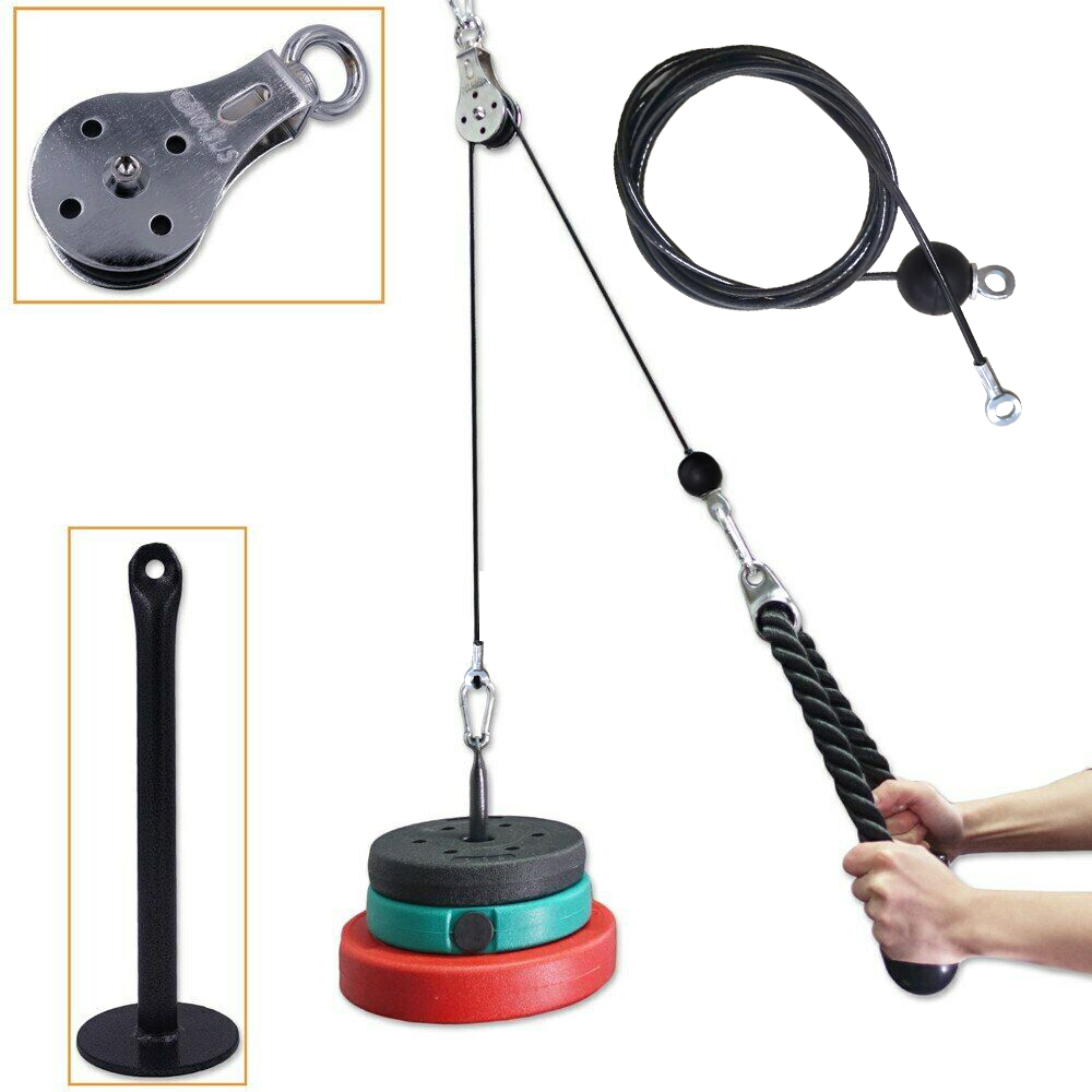 Fitness Pulley Cable System DIY Loading Pin Lifting Triceps Rope Machine Workout Adjustable Length Home Gym Sport Accessories