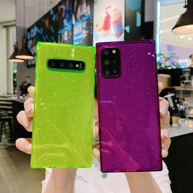 Square Fluorescent Glitter Phone Case For Samsung S20 FE Plus Note 20 Ultra S10 A71 A51 A50 A70 S21 Ultra FE A52 A72 Soft Cover 3