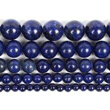 Pedra natural suave imitação lapis lazuli grânulo charme pulseira redonda solta grânulos para fazer jóias encontrando diy strand 4-12mm