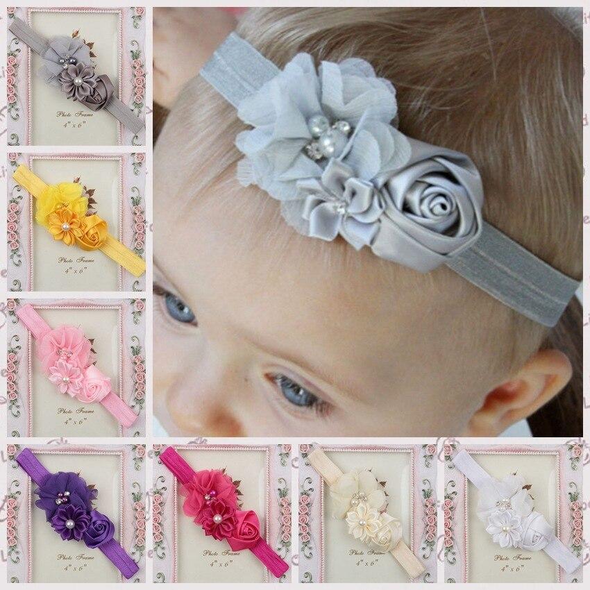 Yundfly Fashion Stain Rose Pearl Chiffon Flower Rhinestone Headband Fashion Handmade Children Headwear Photography Props