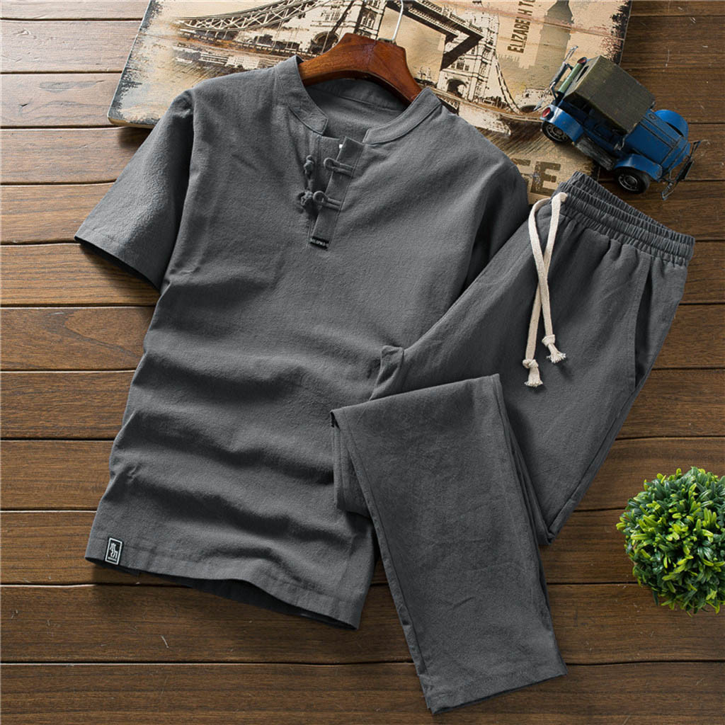 Summer Men Clothes Suit Men's Summer Suit Large Size Loose Chinese  Cotton And Linen Short Sleeve T-shirt 2 Piece Clothes 1.17