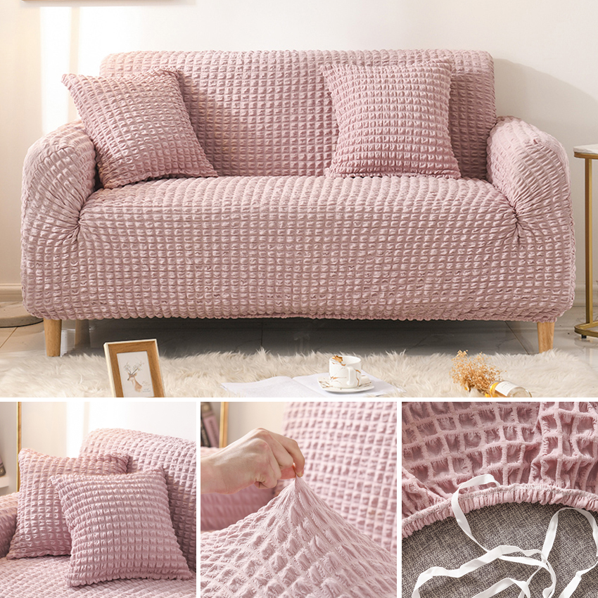 Seersucker Elastic Sofa Covers For Living Room Elastic Couch Cover For Armchair Chaise 1/2/3/4 Seater Stretch Sofa Protector