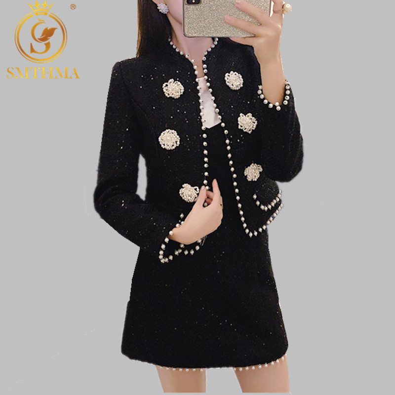 High Quality Luxury Designer Runway Autumn Winter Women Manual Beads Fashion 2 Piece Tweed Set Elegant Short Coat + Skirt Suit