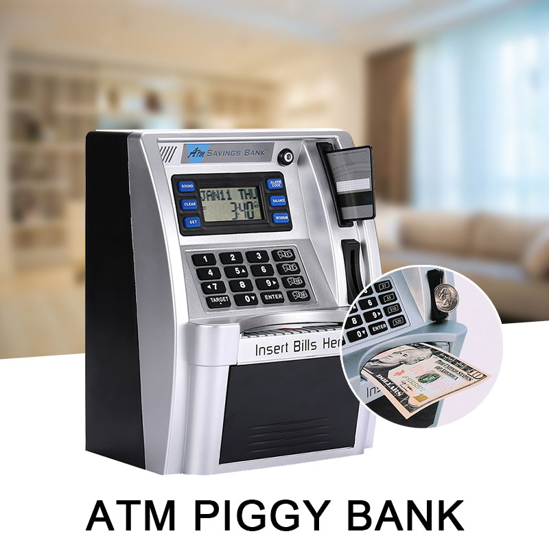 Hot  Simulation US ATM Saving Banks ATM Piggy Bank ATM Money Safe Boxes With LCD Screen Silver Kids Gift Money Safe Box