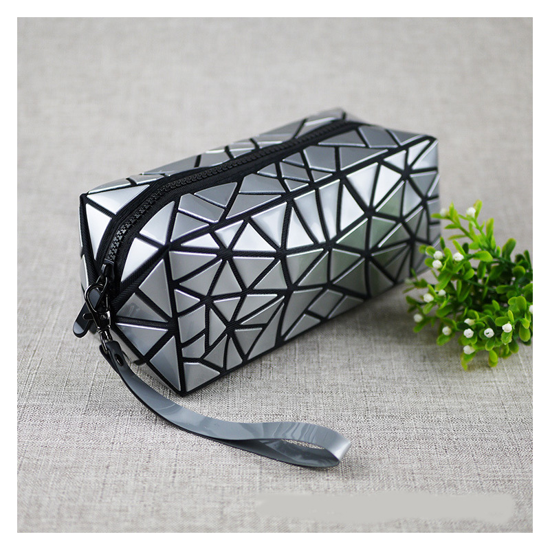 Geometric Zipper Cosmetic Bag Splice Women Storage Package Laser Diamond Multi-functional Travel Makeup Bag Waterproof Wash Bag