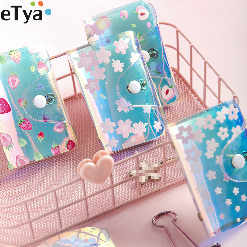 Credit Card Holder Wallet Women Lady Girl PVC Laser Flower Strawberry Travel Passport Business ID Card Coin Money Purse Pouch
