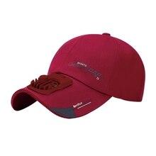 Summer USB Charging Fan Baseball Cap Letters Print 2 Speed Adjustable Peaked Hat F3MF