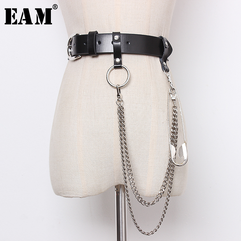 [EAM] 2020 New Spring Summer Pu Leather Black Chain Split Joint Personality Long Belt Women Fashion Tide All-match JT474