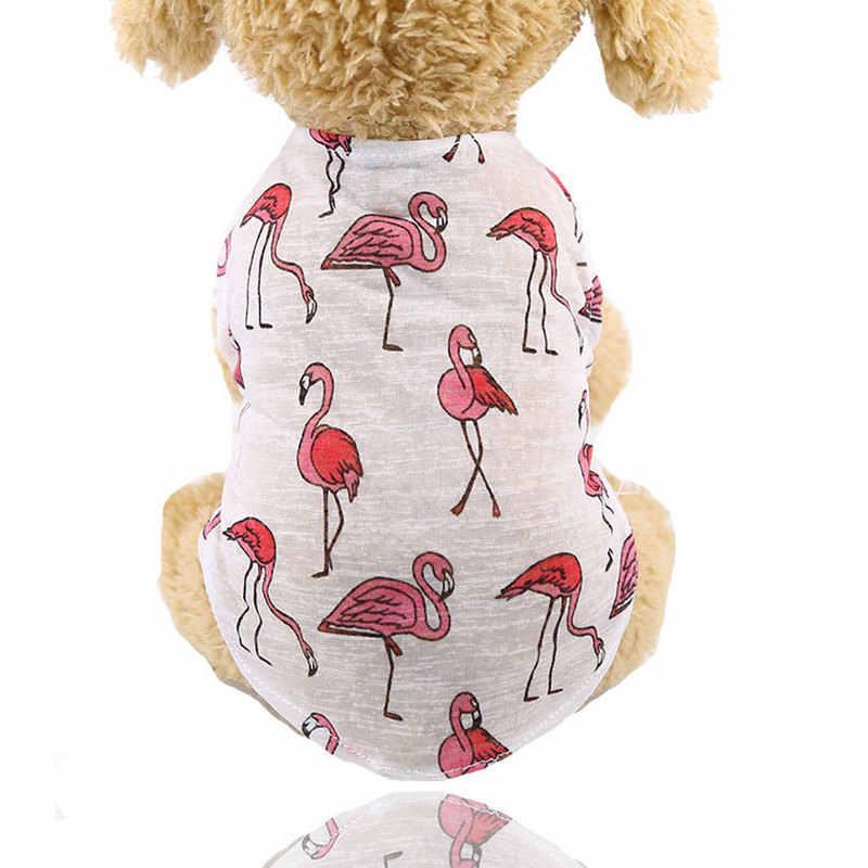חיות מחמד וסטים טדי כלב בגדים קצר שרוול קקטוס פלמינגו הדפסת בגדי כותנה חולצה קיץ כלב לנשימה חולצות ציוד לחיות מחמד