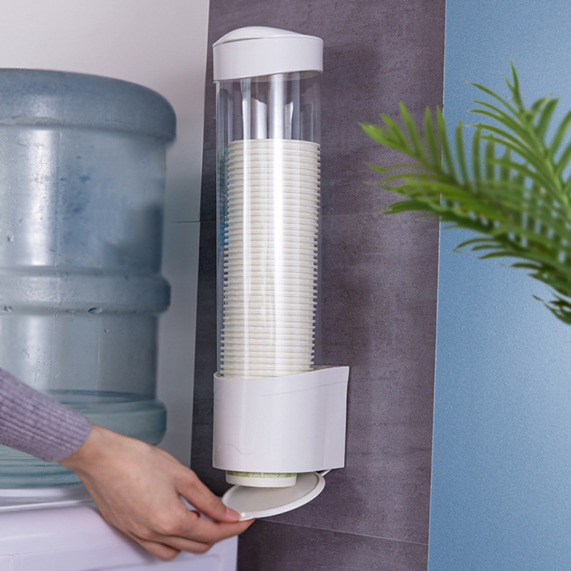 Wall Mount Paper Cup Dispenser Plastic Cups Holder Disposable Automatic Holder Dustproof Dispenser Drinking Accessory