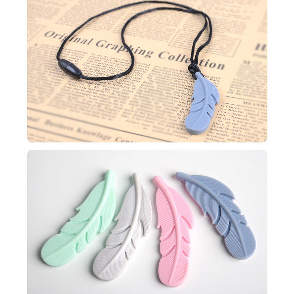 Feather Chew Baby Teething Necklace Nursing Pendant BPA Silicone Chew Toys Good