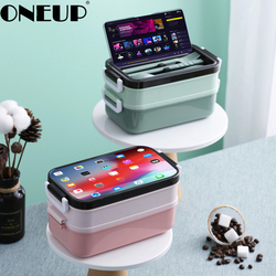 ONEUP 304 Stainless Steel Lunch Box Portable Bento Box Large Capacity Compartment With Soup Bowl Send Tableware Food Container