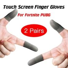 2 זוגות עבור Fortnite Gatillos Para Celular Pubg מסך מגע אצבע שרוול Sweatproof לנשימה נייד משחק בקר כפפות