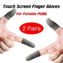 2 Pairs dla Fortnite Gatillos Para Celular Pubg ekran dotykowy Finger Sleeve Sweatproof oddychający kontroler do gier na telefon komórkowy rękawice