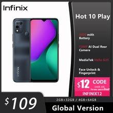 Infinix 10 QUENTE JOGAR 2GB + 32GB /4GB + 64GB Global Versão Telefone 6.82 ''HD + Exibição 6000mAh Helio G35 Смартфоны Telefone móvel