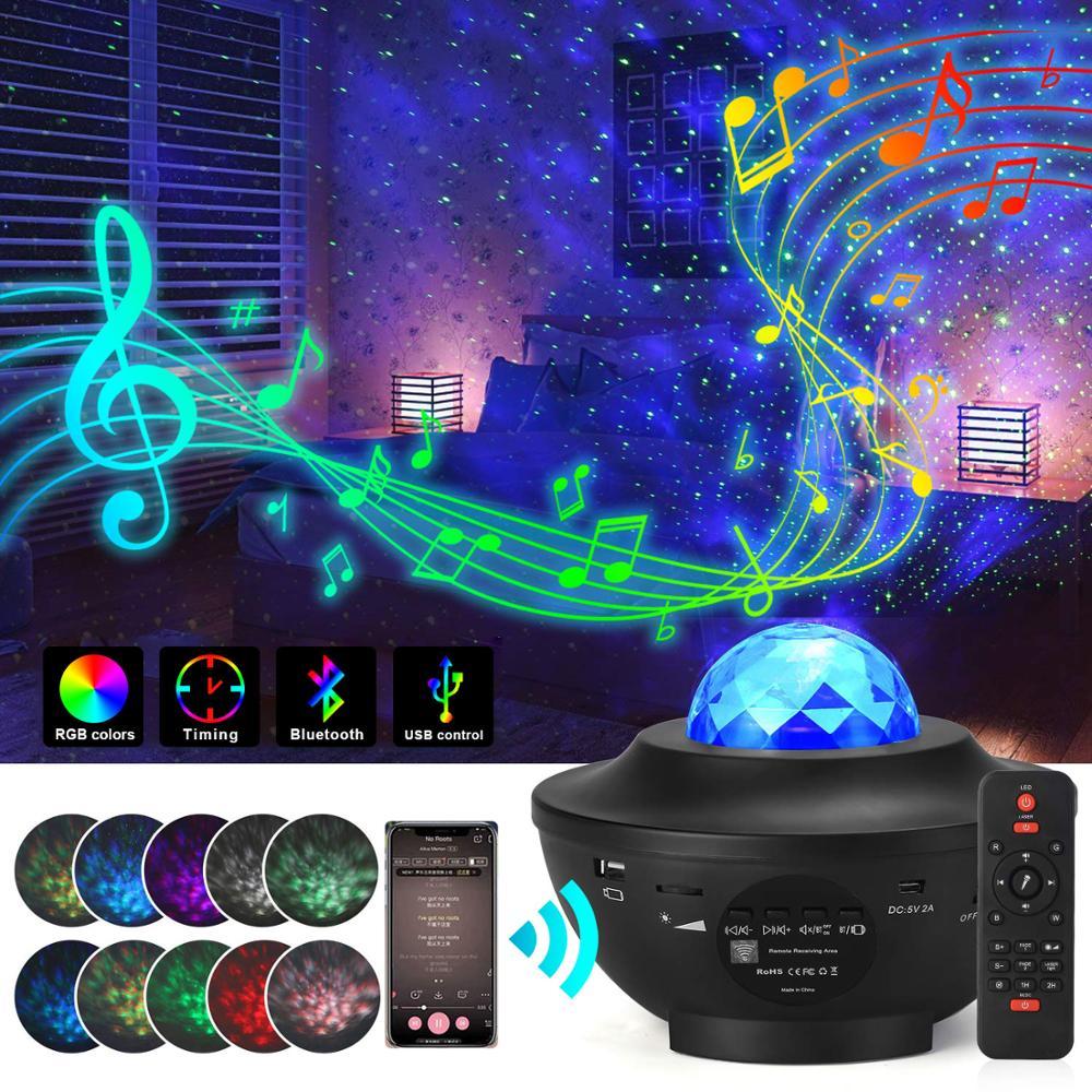 Красочные Звездный проектор звездного неба Galaxy Bluetooth USB Голосовое управление музыкальный плеер StarLED ночник романтическая проекционная ламп...