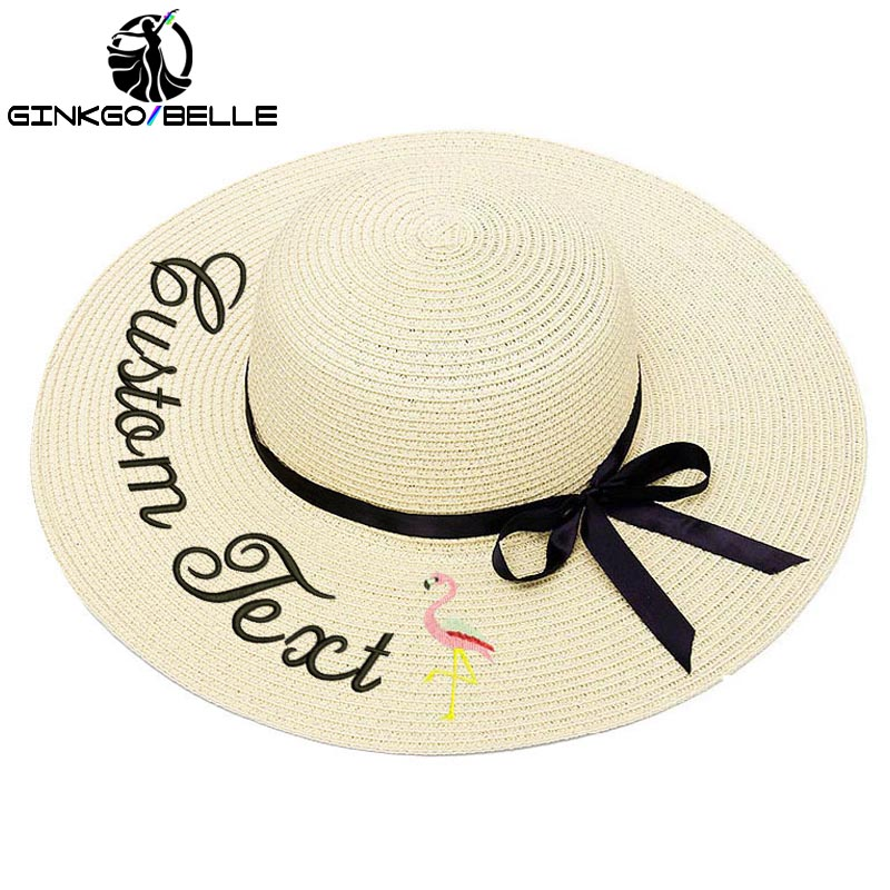 Custom Sun Hat For Women's Summer Hat Personalized Embroidery Text Name Flamingo Straw Hat Beach Hat Female Sunshade Caps