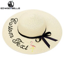 Custom Sun Hat For Womens Summer Personalized Embroidery Text Name Flamingo Straw Beach Female Sunshade Caps
