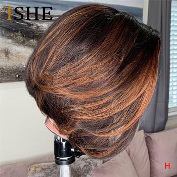 13 #215 6 krótkie włosy ludzkie Bob peruki dla kobiet Ombre 30 wyróżnij koronki przodu peruki z ludzkich włosów Preplucked dla czarnych kobiet Remy włosy 150 tanie i dobre opinie ISHE Proste Ludzki włos Pół maszyny wykonane i pół ręcznie wiązanej Swiss koronki 1 sztuka tylko Średni brąz Peruka