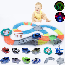 Glow in the Dark Magical Track DIY Universal Accessories Race Track Bridge Crossroads Glowing Race Track Gifts for Children New magic track mini racing car race cars track luminous road slot glow in the dark stunt railroad flexible glowing toys for boys