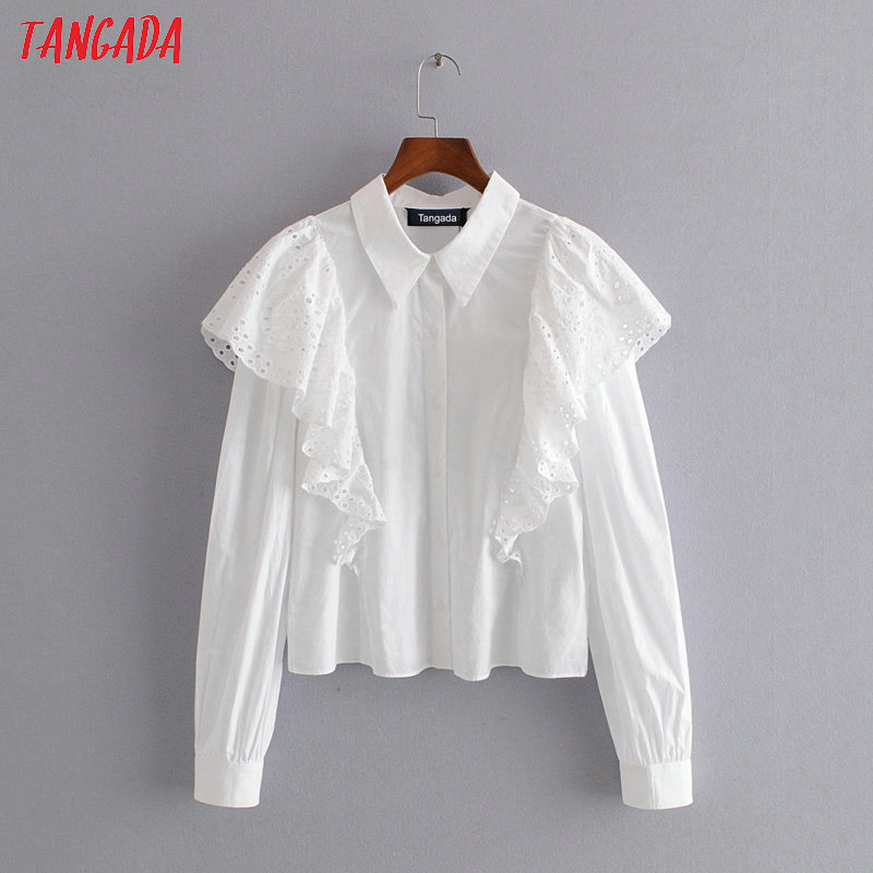 Tangada Women Embroidery Ruffle Cotton White Shirts Long Sleeve Solid Elegant Office Ladies Work Wear Blouses Tops 3H291