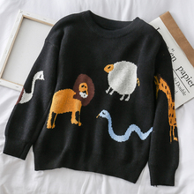 Mooirue Autumn Casual Kintting Sweater Funny Cartoon Animal Printed O Neck Vintage Streetwear Korean Harajuku Pullover