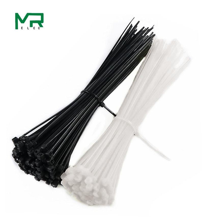 100 шт. 3X60/80/100/120/150/200 мм черно-белый молочный кабель, проволочные застежки, самоблокирующиеся пластиковые галстуки на молнии