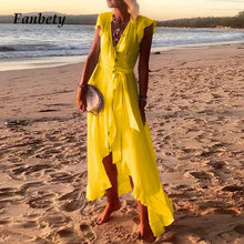 Summer Beach Party Dress Women Sexy V-Neck Elegant Tie-Up Belted Dresses Lady Ruffle Irregular Boho Maxi Long Dress Vestidos