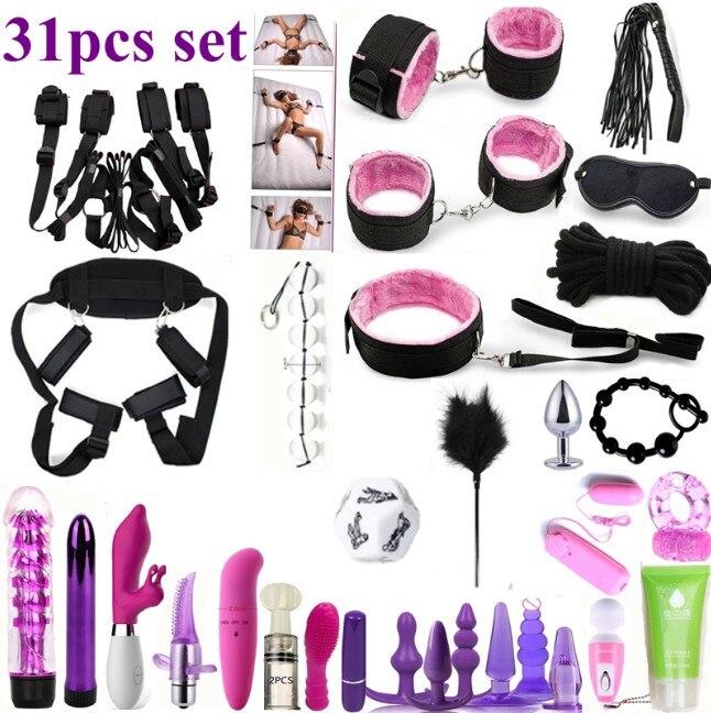 Sex Toys For Couples 31pcs Set Bondage Vibrators Set Nylon Restraint BDSM Slave Vibrator Plug Flirt Games Erotic Toys For Women