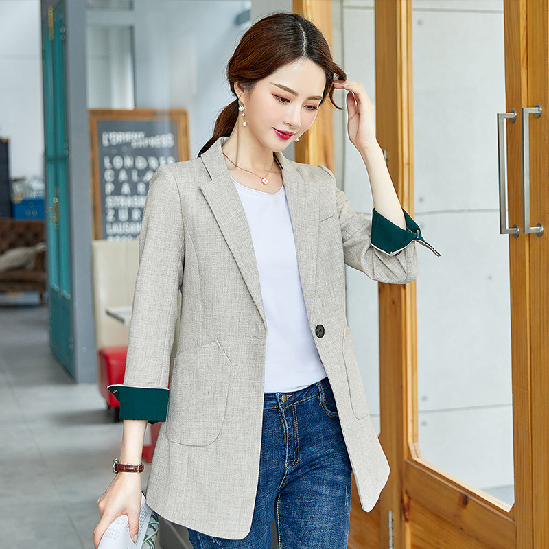 Stylish mid-length ladies blazer jacket feminine 2020 new autumn and winter casual loose ladies small suit coat high quality