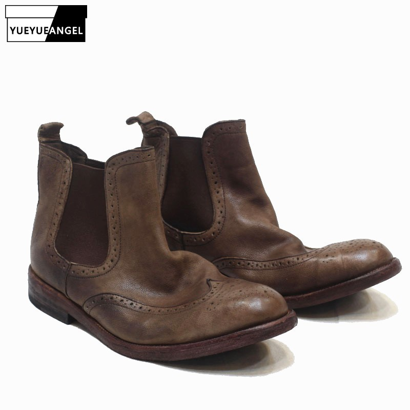 Top Brand British Carved Mens Genuine Leather Chelsea Boots Round Toe High Top Slip On Vintage Brogue Motorcycles Ankle Boots